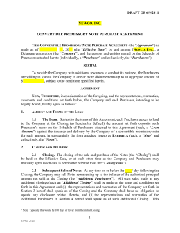 Convertible Promissory Note Purchase Agreement