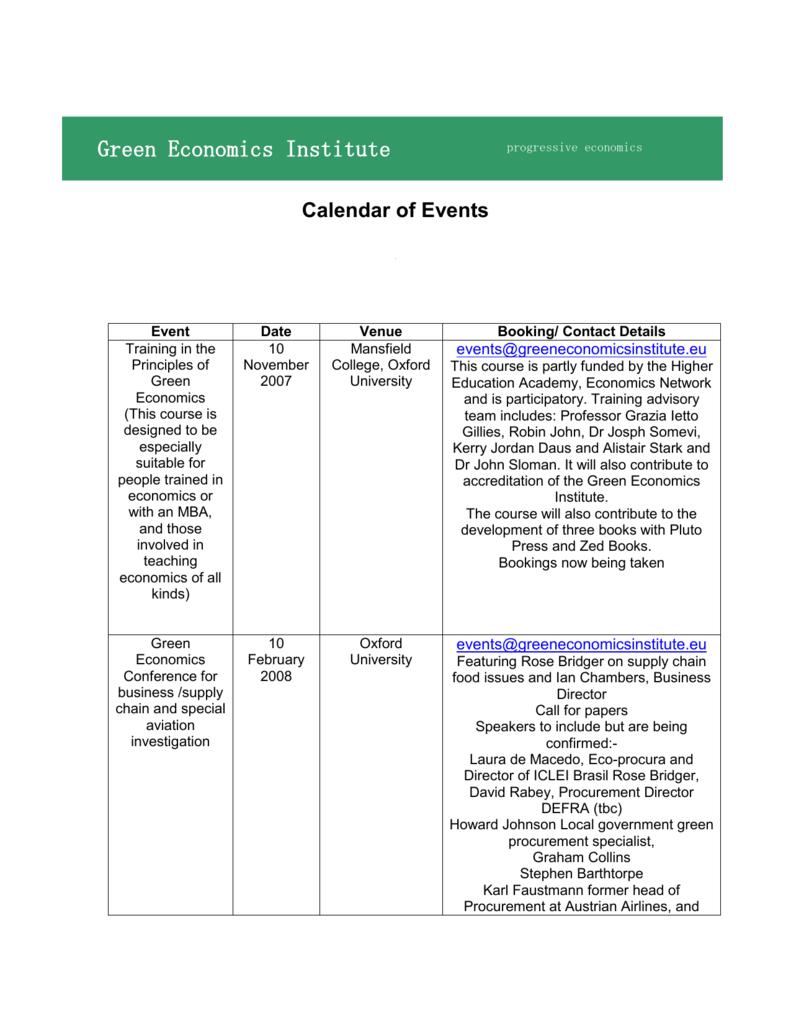 Calendar Of Events Green Economics Institute