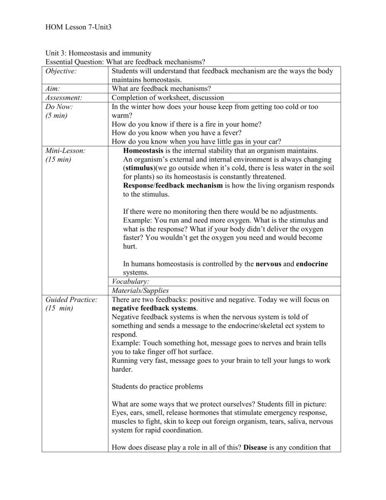 worksheet Feedback Mechanisms Worksheet lesson 7 feedback mechanism