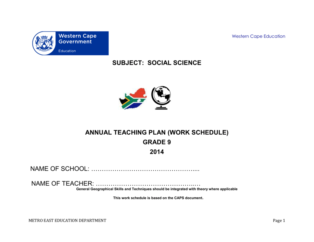 teaching plan grade 9 social science