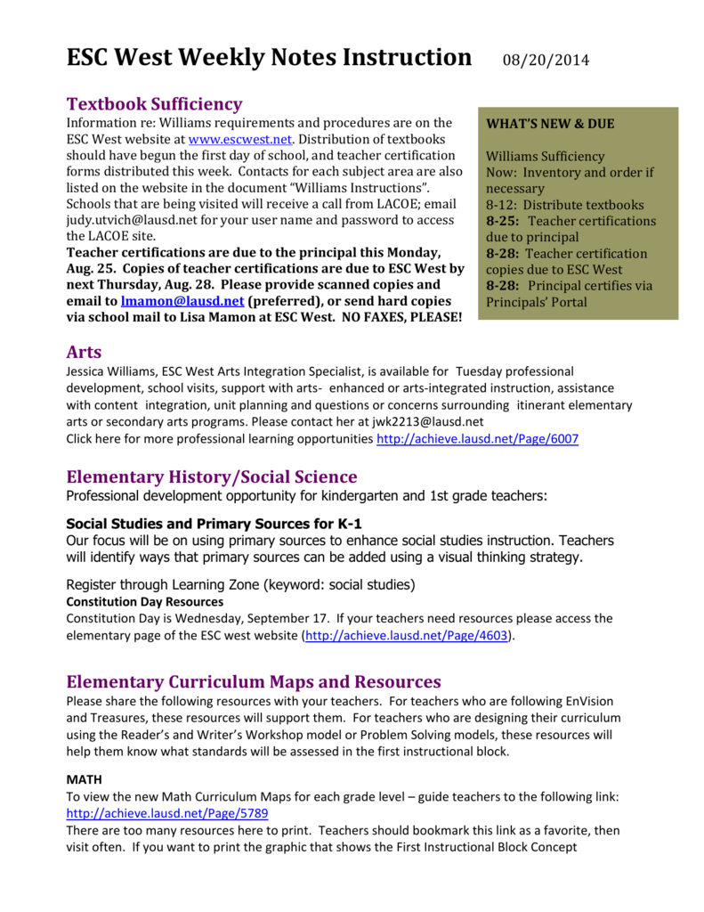 Esc West Weekly Notes Instruction 08202014 Textbook