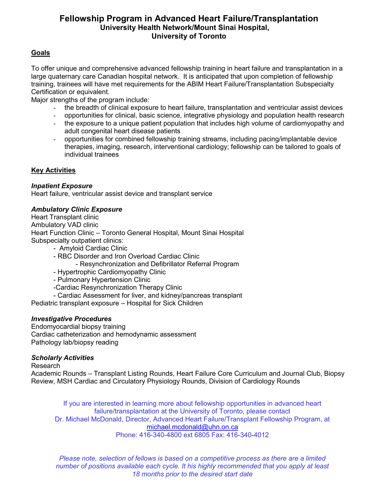 Fellowship Program in Advanced Heart Failure/Transplantation