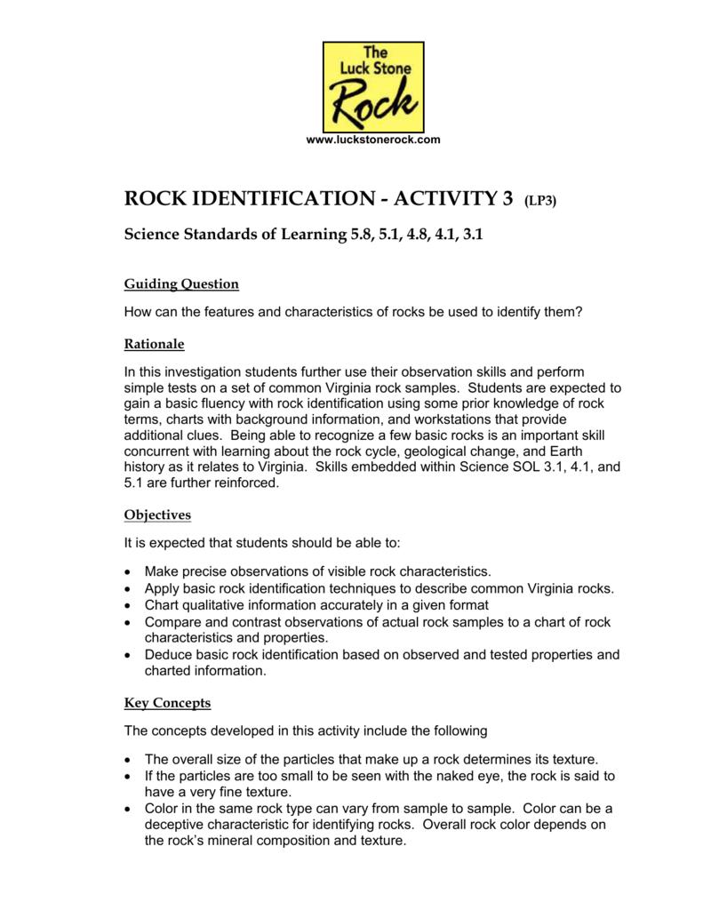 Rock Identification - Activity 3 (LP3)