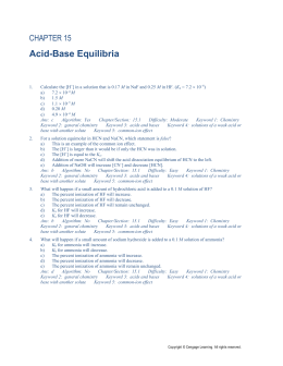Acid and Base Review Answers
