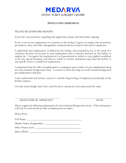 Application Addendum PLEASE READ BEFORE SIGNING If you