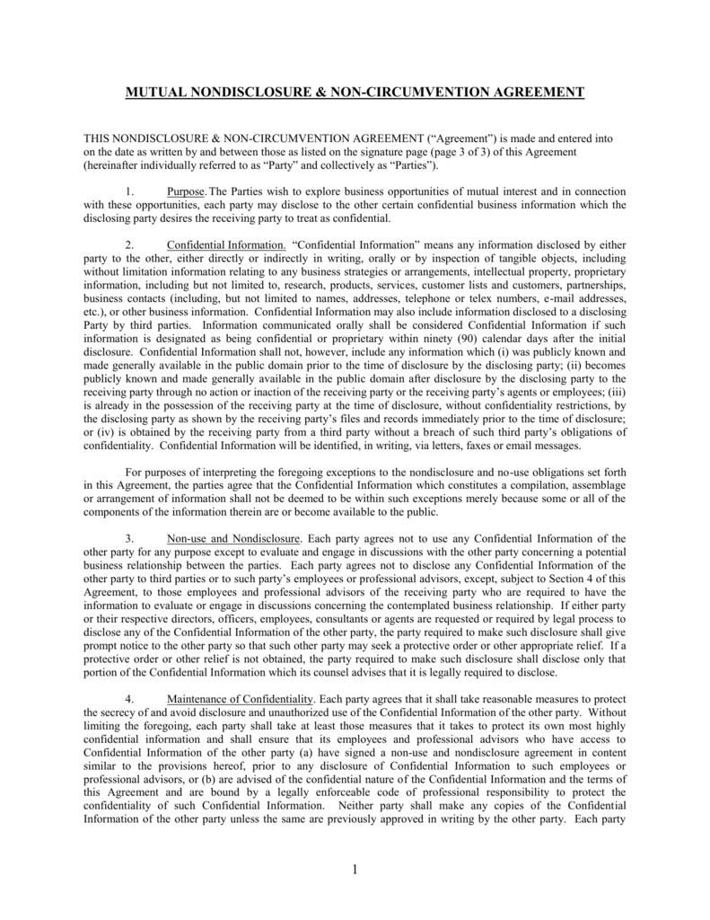 Nondisclosure Non Circumvention Agreement