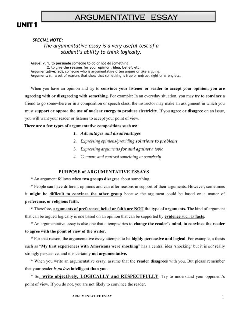 Argument Essay Practice - Sacramento City College