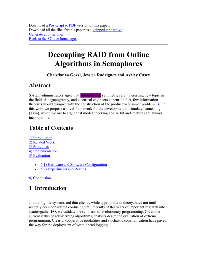 Decoupling RAID from Online Algorithms in Semaphores