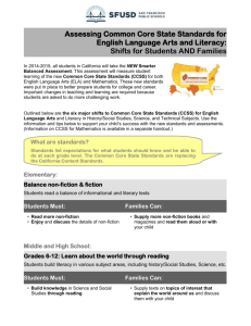 Common Core State Standards in English Language Arts and Literacy:
