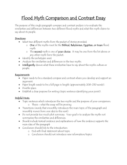 flood story comparison chart flood myth comparison and contrast essay