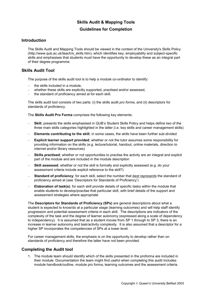 guidelines for use of skills audit tool
