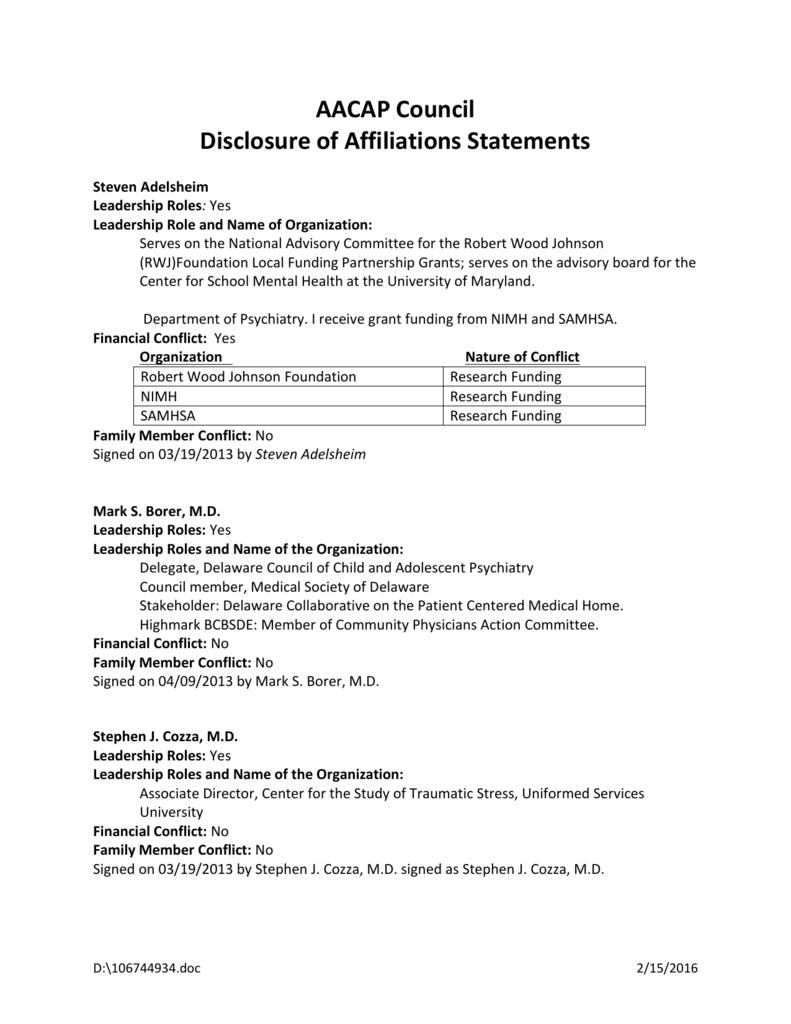 AACAP Council Disclosure of Affiliations Statements Steven
