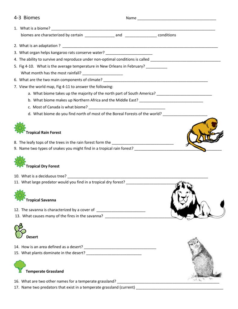 Biomes Worksheet Answers