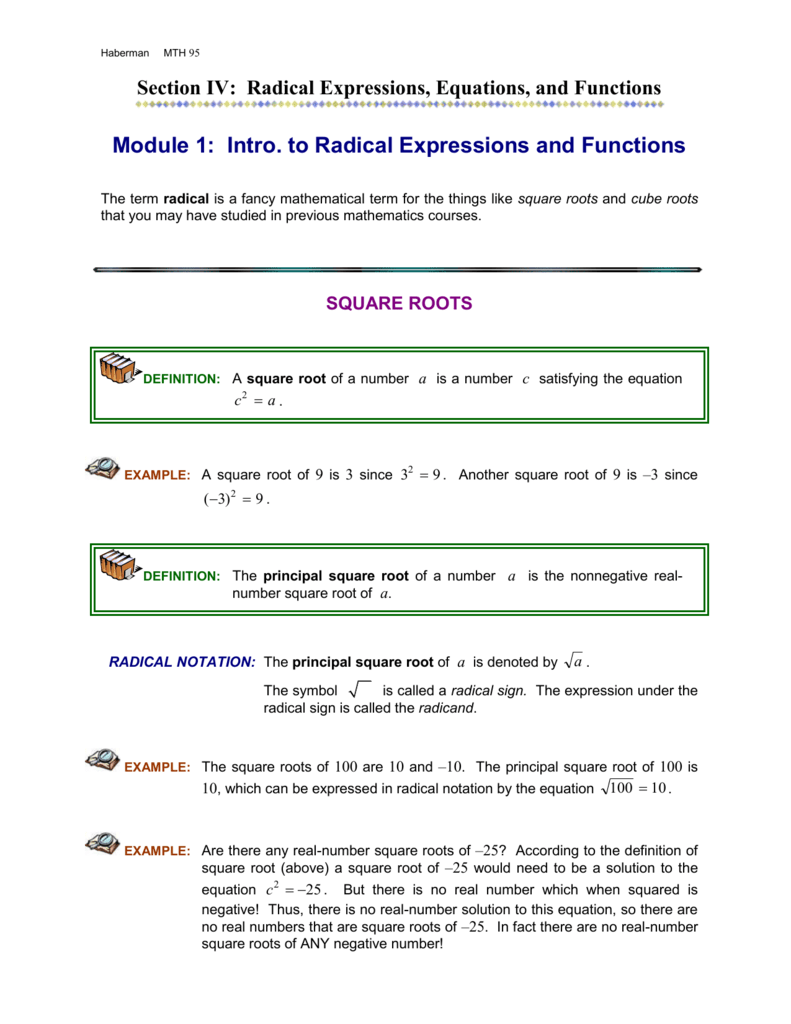 Module 1 Introduction To Radical Expressions And Functions