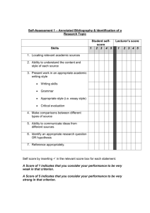 Self/Tutor Summary Assessment of Assignment 3c –Individual
