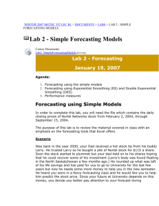 Lab 2 - Simple Forecasting Models