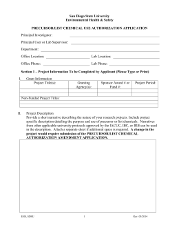 Precursor/List Chemical Use Authorization Application
