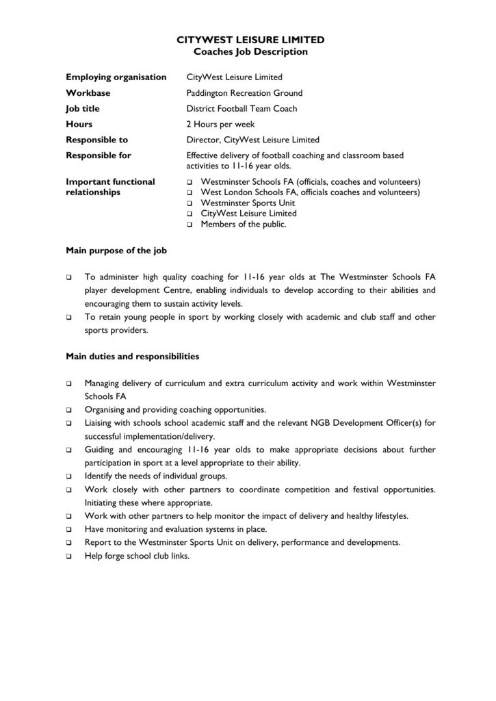 Citywest Leisure Coaches Job Description