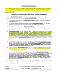 Template: Client Notice of Rights Form/Confidentiality