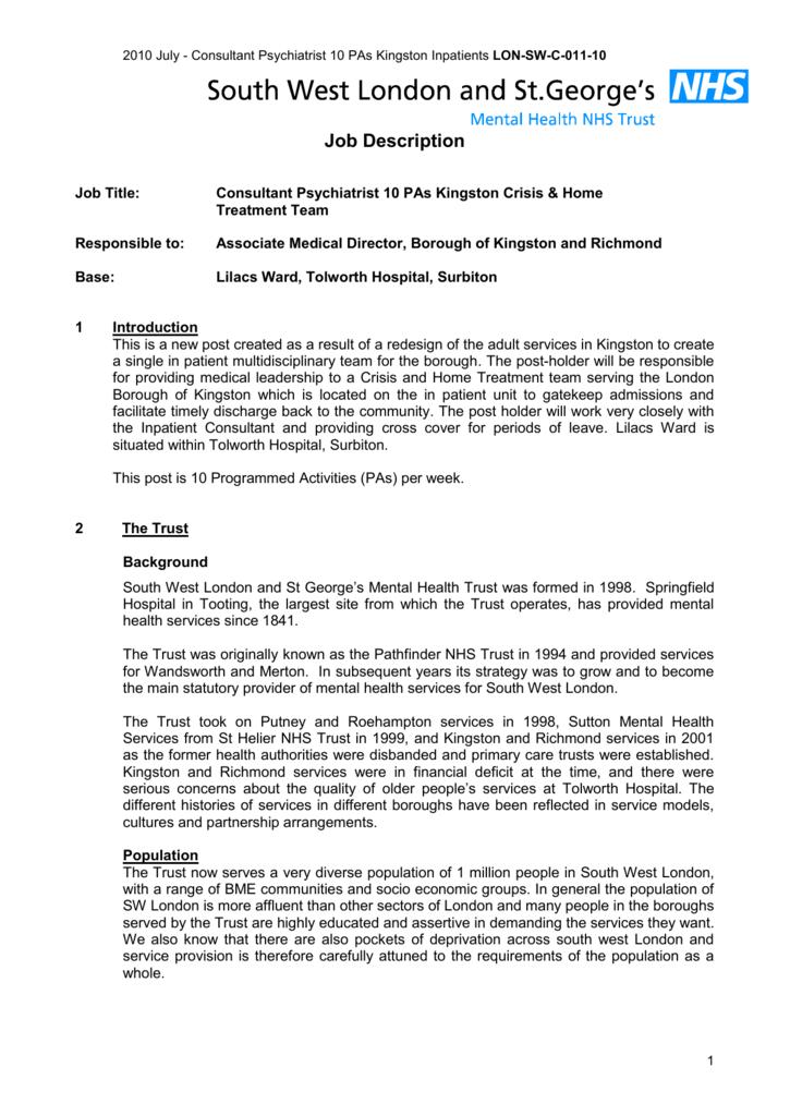 Job Description South West London and St Georges Mental Health – Psychiatrist Job Description