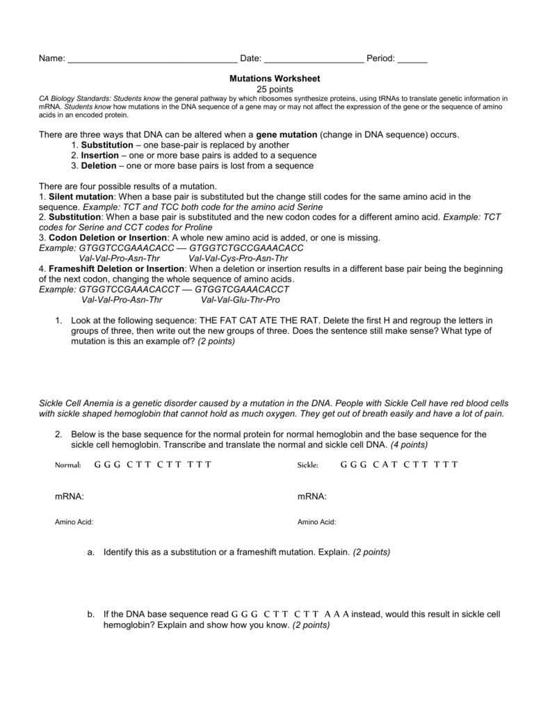 Mutations Worksheet – Gene Mutation Worksheet