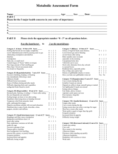 Metabolic Assessment Form - North State Medical Group