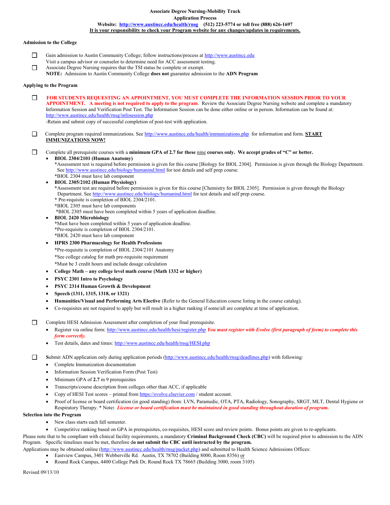 Associate Degree Nursing Mobility Track Application Process