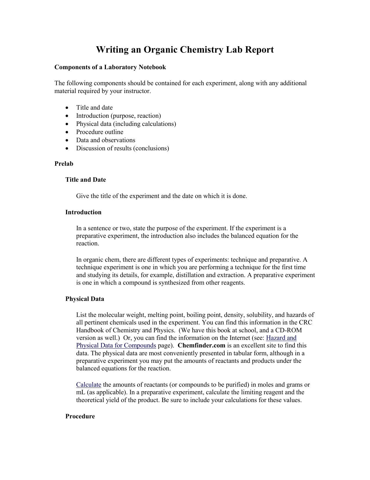 organic chemistry lab notebook