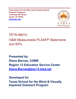 O&M Measurable PLAAFP Statements and IEPs