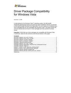 Driver Package Compatibility for Windows Vista