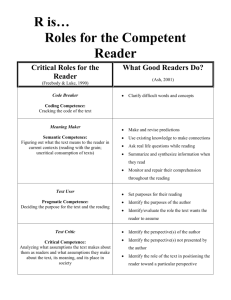 Roles for the Competent Reader