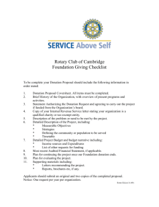 Rotary Club of Cambridge Foundation Giving Checklist