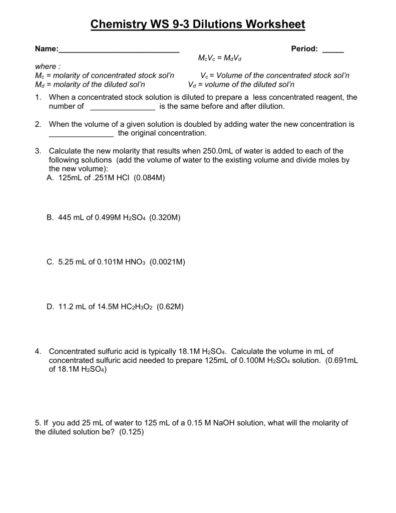 Worksheets Molarity Worksheet Chemistry dilutions worksheet