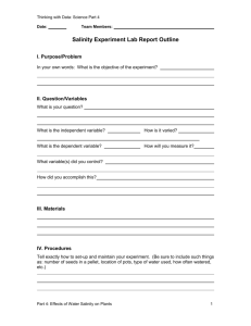 Salinity Experiment Reporting Template