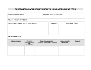Substances hazardous to health: Risk assessment form