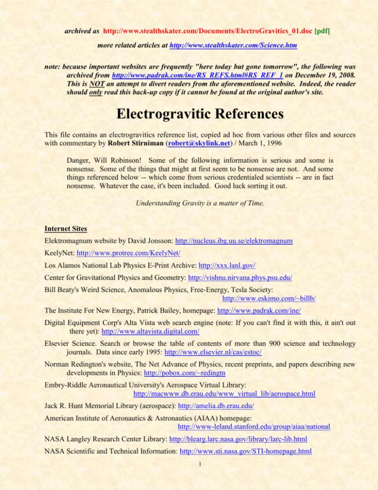 Electrogravitics 01