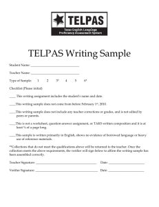 TELPAS Writing Checklist