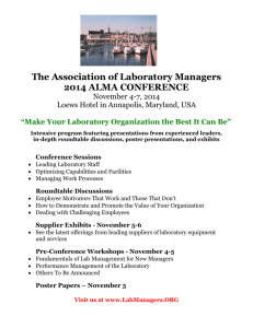 2014 Conference Announcement - Association of Laboratory