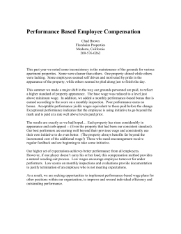 Performance Based Employee Compensation