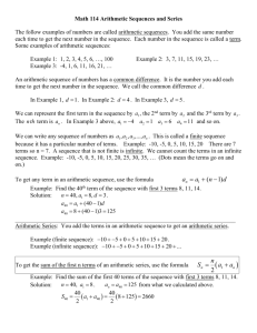 Math 114 Arithmetic Sequences and Series