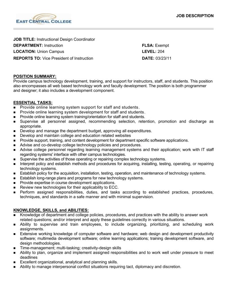 Job Title Technology Design Specialist