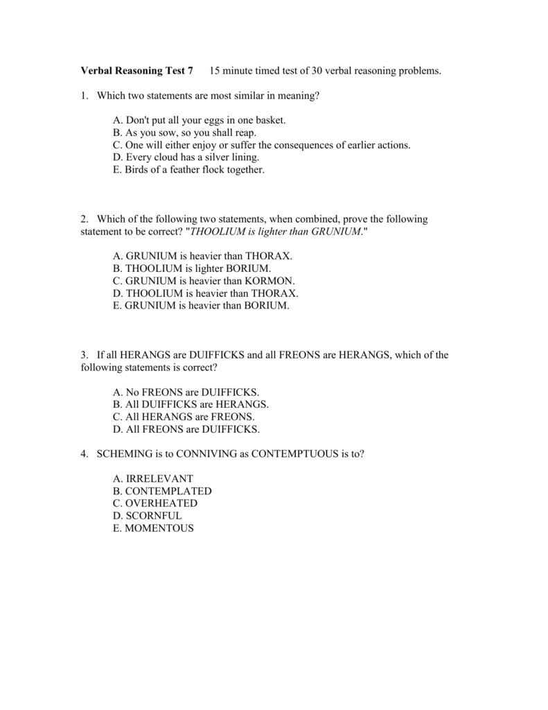 Verbal Reasoning Test 7 - 30
