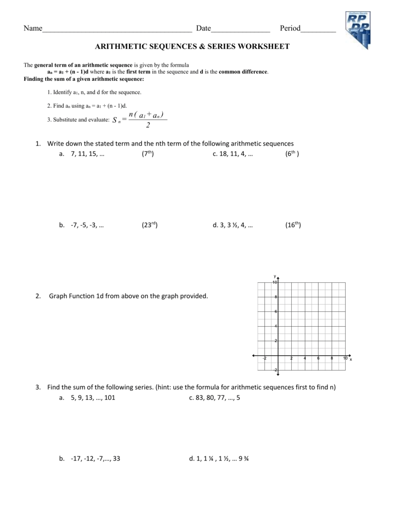 Worksheet arithmetic sequence series word problems robcynllc Image collections