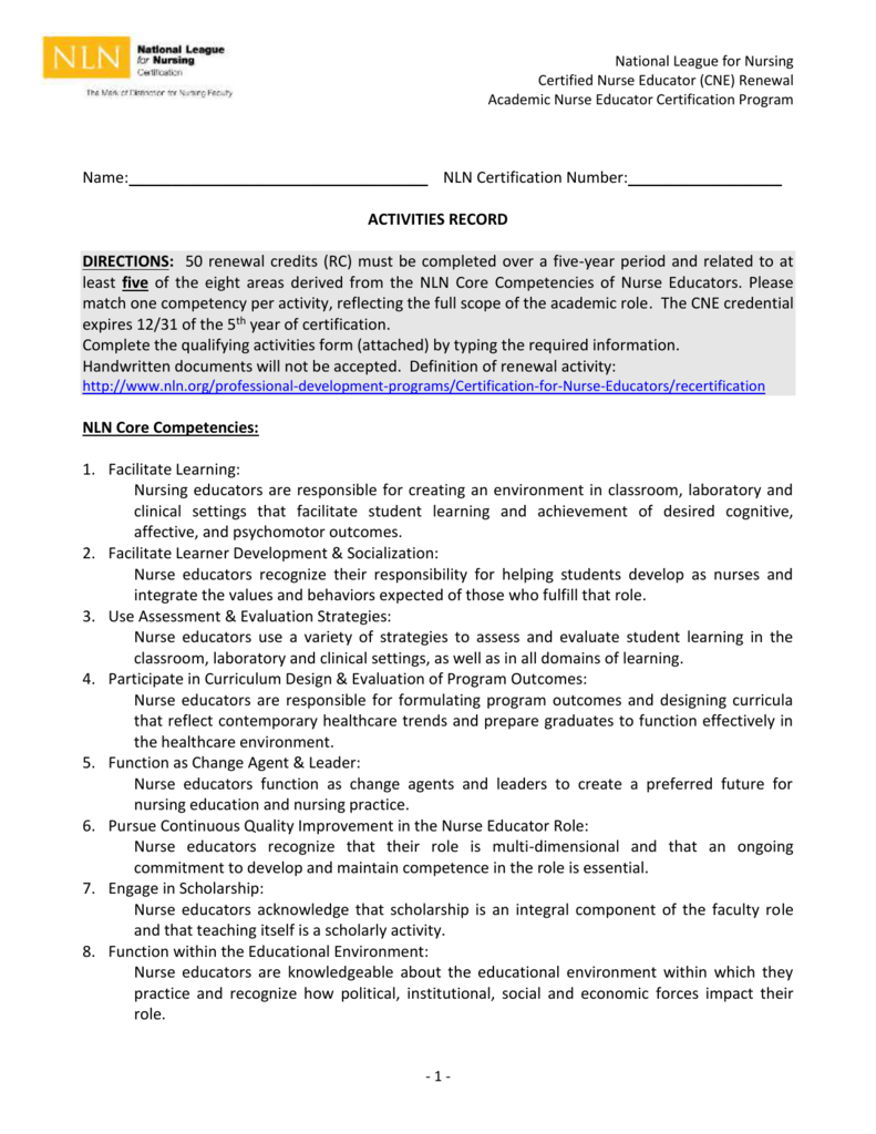 Cne Renewal Activities Record Form