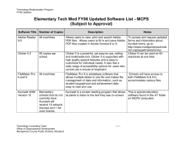 Elementary FY06 Software List-MCPS