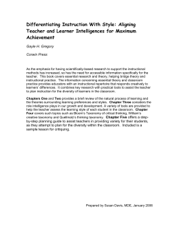 Differentiating Instruction With Style: Aligning Teacher and Learner
