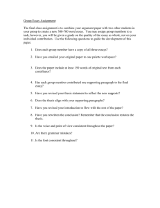 Group Essay Assignment