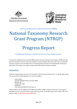 Research Grant Progress Report Form