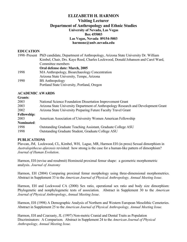 Curriculum Vitae - University of Nevada, Las Vegas