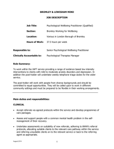 Job Description - Qualified Psychological Wellbeing Practitioner